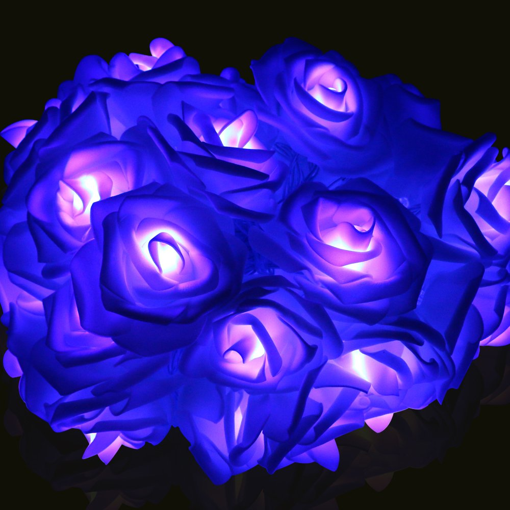 LED String Lights, Rusee 20 LED Battery Powered Decorative Lights Rose Flower Fairy Starry Light for Indoor Outdoor, Bedroom Patio Garden Gate Yard Wedding Valentine's Day Christmas Halloween Parties
