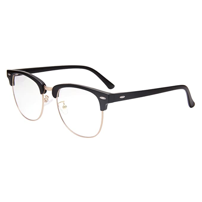 844aa720f4ed Jardin d amour Vintage Retro Clubmaster Classic Half Frame Horn Rimmed  Clear Lens Glasses JA1382