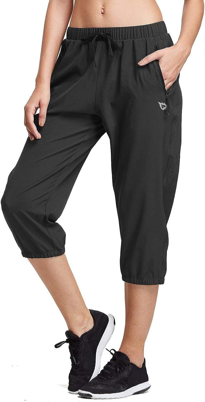 BALEAF Women Lightweight Capri Jogger Hiking Shorts Running Capri Pants Quick Dry UPF 50+ Zipper Pockets