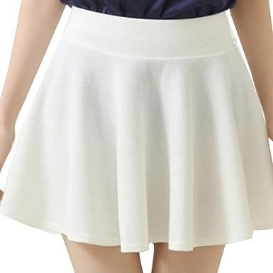 fc3763d9317 Holywin Jupes Courtes Femmes Taille Haute Plaine Patineuse évasée Mini Jupes  Courtes plissée