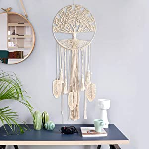 O-heart Boho Tree of Life Dream Catcher, Macrame Wall Hanging Dreamcatcher with Feather Leaf Big Woven Bohemian Dream Catchers for Wedding Party Favor Bedroom Nursery Gypsy Decor