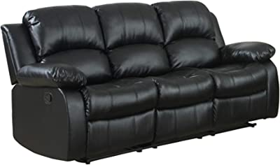 Ciabola Power Double Reclining Sofa in Black Leather