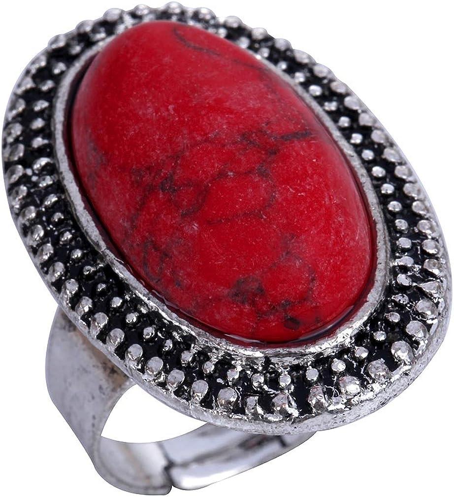 YAZILIND Tallado Rojo Oval de la Turquesa de Plata tibetana Llamativo Anillo Ajustable para