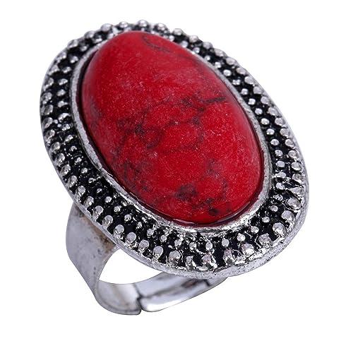 Yazilind Schmuck Geschnitzt Rote Rimous Ovale Türkis Tibet Silber