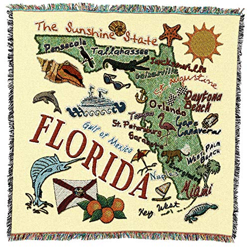 Pure Country Weavers - Florida State Woven Throw Blanket with Fringe Cotton. USA Size 54x54