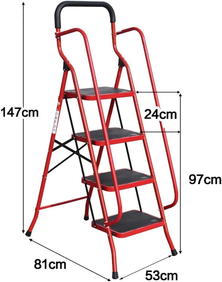 Escaleras Escalera de 4 escalones con pasamanos de seguridad, Taburete plegable, Escalera de tijera, Escalera telescópica, Escalera de extensión, Escalera multiusos con antideslizante4 pasos de seguri: Amazon.es: Bricolaje y herramientas