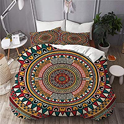 Fourfool Duvet Cover Set African Folkloric Tribe Round Pattern With Ethnic Colors Aztec Artwork Decorative 3 Piece Bedding Set With 2 Pillow Shams Single Size