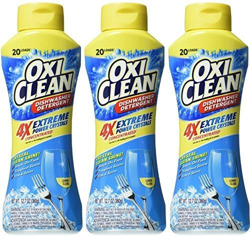 Oxi Clean Dishwasher Detergent - Extreme Power Crystals - 4X Concentrated - Lemon Clean - Net Wt. 12.7 OZ (360 g) Each - Pack of 3