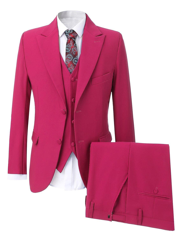 Lilis® Men's Royal Blue Slim Fit Men Suit Peaked Lapel 3 Pieces Formal Blazer LL17081410