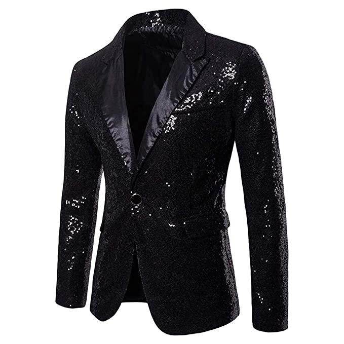 c381b201178 Image Unavailable. Image not available for. Color  Lazacos Men s Shiny  Sequins Suit Jacket Blazer One Button Tuxedo Coat for Party ...