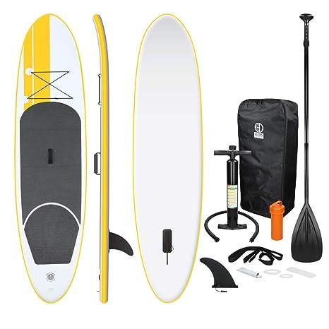 ECD Germany Tabla Hinchable Paddle Surf/SUP - Stand up paddle board - 308 x 76 x 10 cm - amarilla- PVC - varios modelos - Incluye Bomba, Mochila, ...