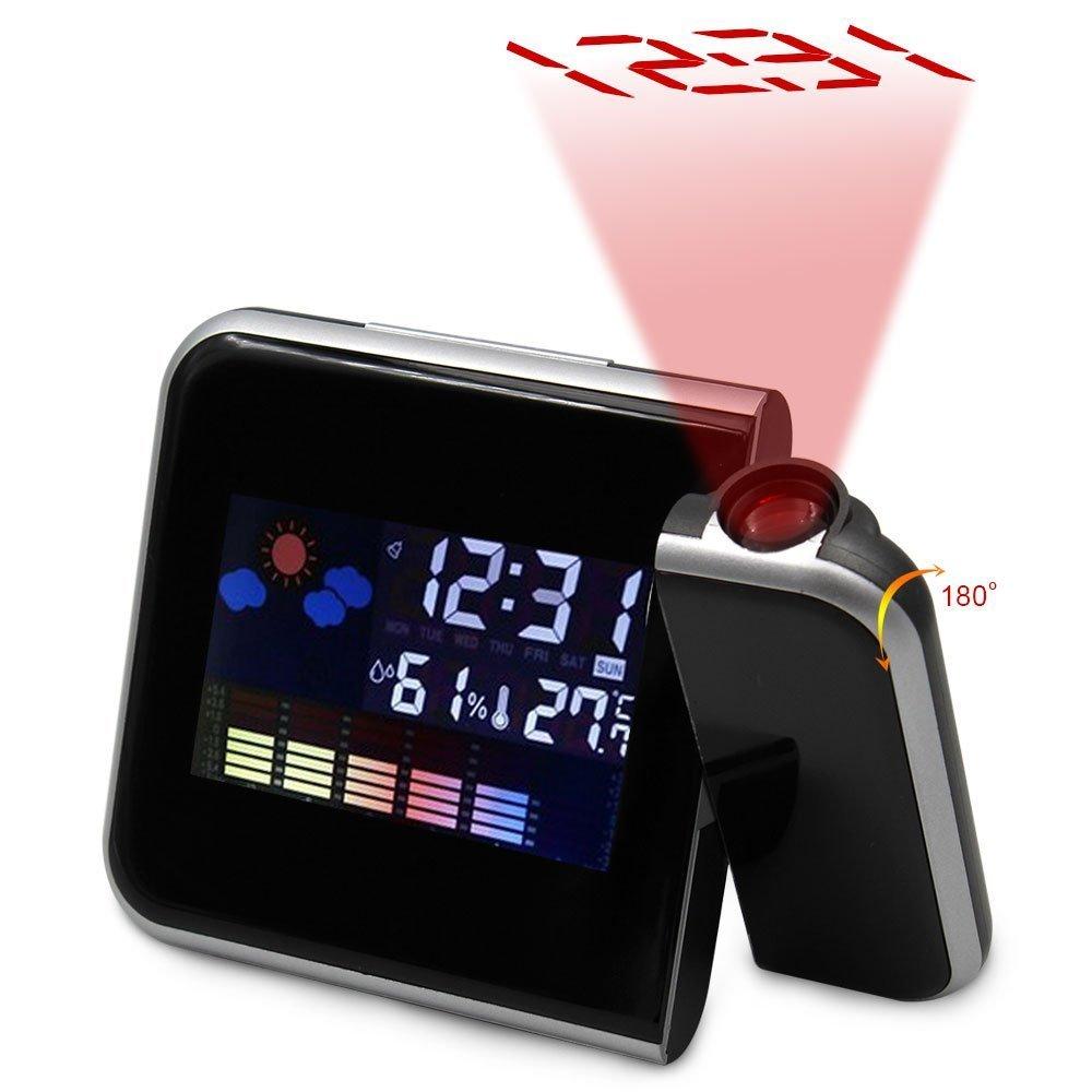 Rotación de proyección reloj despertador digital con temperatura y repetición de alarma Pantalla de retroiluminación LED/día/fecha/higrómetro/la humedad 12 ...