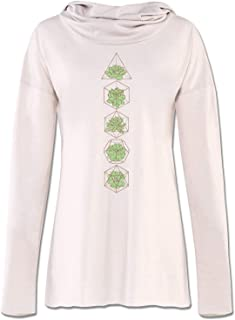 product image for Soul Flower Succulent Organic Cotton Recycled Women's Cowl Neck Yoga Hoodie, Off-White Ladies Graphic Long Sleeve Tunic