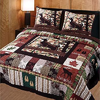 3 piece whitetail deer quilt full queen set mountain lodge themed bedding cabin charm
