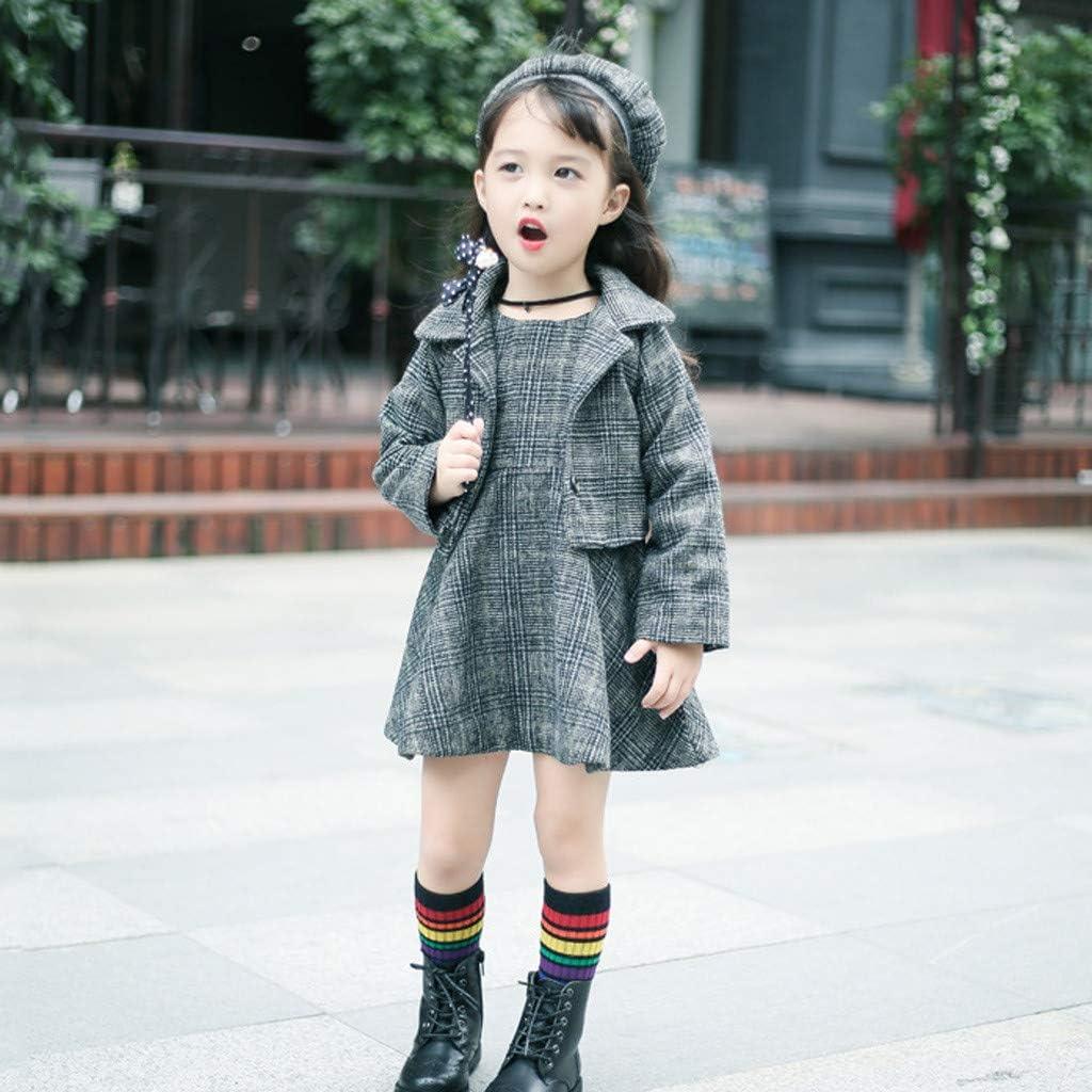 Toddler Kids Baby Girls Thicken Sundress Dress Plaid Coat Jacket Beret Outfits
