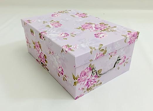 Material colores violeta y diseño de flores caja de almacenaje de ...