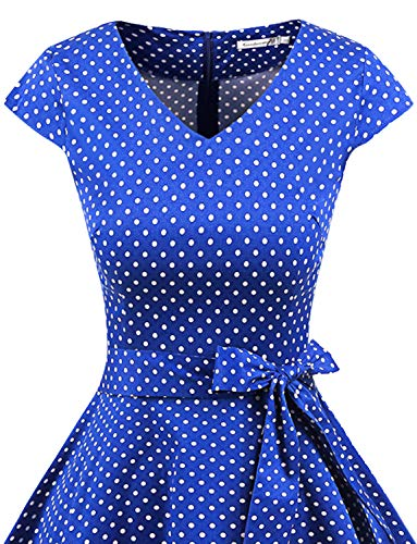 Polka Gardenwed Rockabilly Royal Blue 1950 Annata Small Da Abito White Dot Con Retrò Corte Vestito Swing Partito Audery Cocktail Maniche cFl1KJ