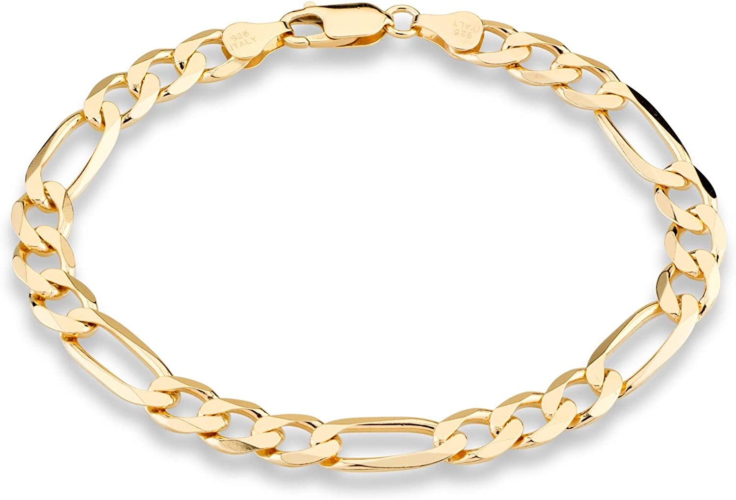 Miabella 18K Gold Over Sterling Silver Italian 7mm Solid Diamond-Cut Figaro Link Chain Bracelet for Men 7, 7.5, 8, 8.5, 9 Inch 925 Made in Italy