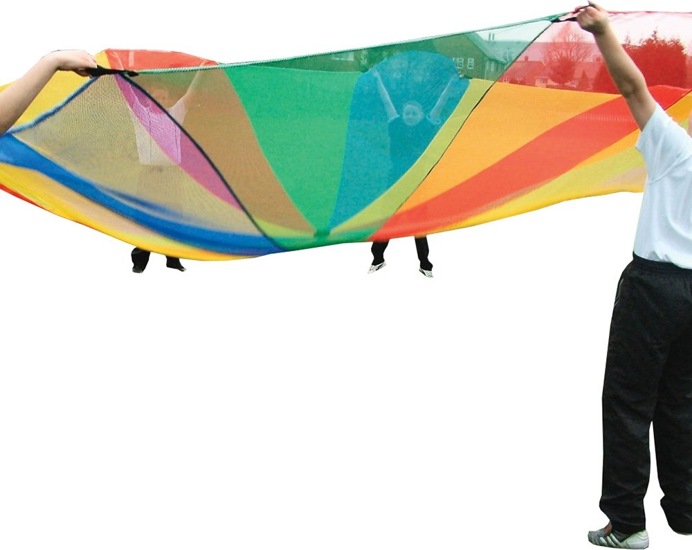 Childrens Outdoor Sports Garden Games Kids Play Rainbow Mesh Parachute 3.65m
