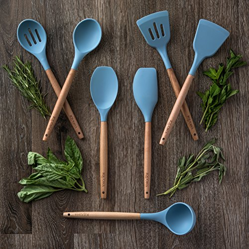 IQUONA Kitchen Utensil Set - 7 Piece Natural Acacia Wood Silicone Spatulas - Heat Resistant - Organic Wooden Handled Spatulas & Spoons - Nonstick Kitchen Tools & Gadgets - French Cooking Utensils
