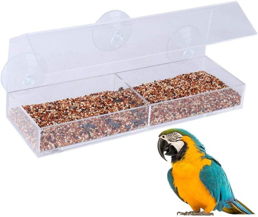 aheadad - Casita para pájaros (acrílico, con 3 ventosas superfuertes), Transparente