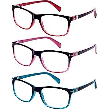 8a64def39c0 EFE 3 Pack Reading Glasses Spring Hinge Lightweight Material Vintage Design  Readers for Men and Women