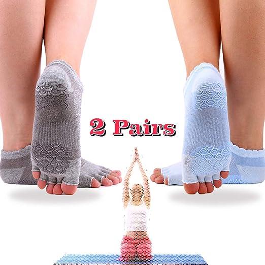 Anti Slip Yoga Socks for Women, Non Skid Toeless Half Toe Socks with Grips, Size 5-10