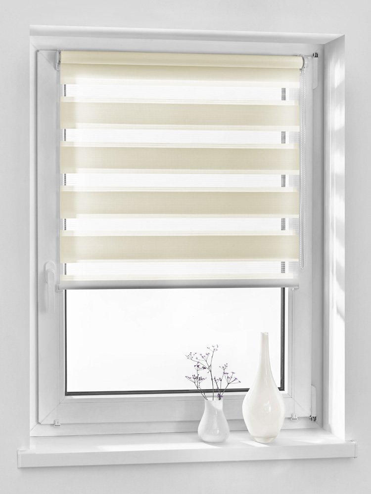 Vidella Double Zebra Window Roller Blind Fittings Cream, Cream, ZZ-2 69b