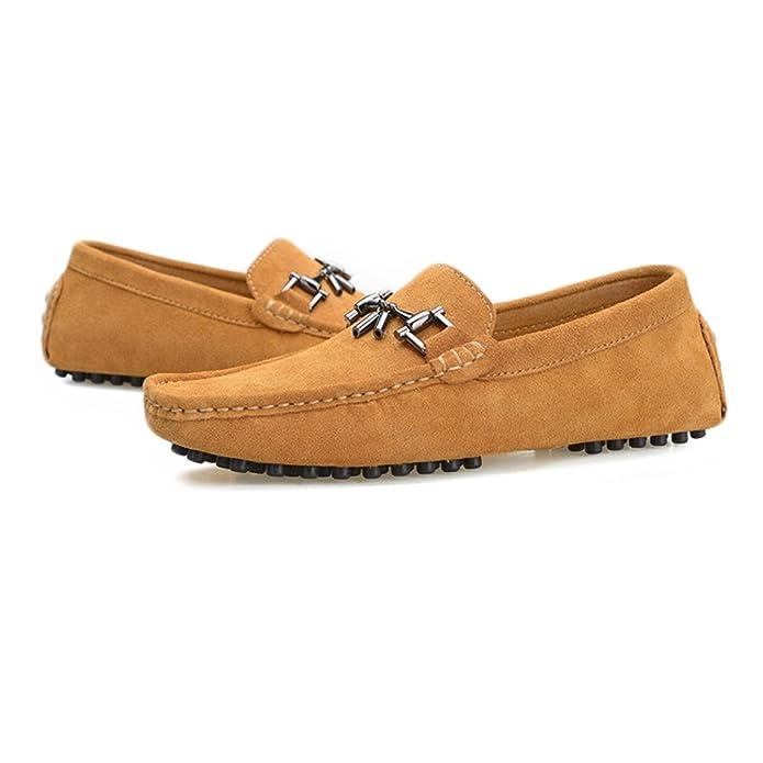92c6e6ffcae3 Easy Go Shopping Herren Driving Loafers Wildleder Echtes Leder Boot  Mokassins Studs Sohle mit Metall-Dekor,Grille Schuhe  Amazon.de  Schuhe    Handtaschen