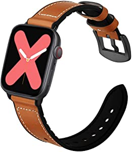 VICARA Hybrid Rubber Leather Sports Bands Compatible with Sweat Proof Silicone Vintage Apple Watch Band iWatch Series 5 4 44mm,Series 3 2 1 42mm Nike Sport and Edition(Brown)(42mm/44mm)