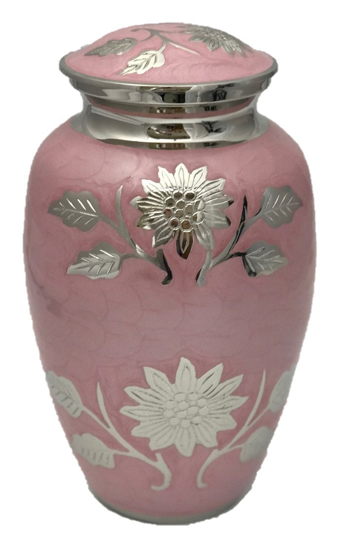Custom Engraved Pink Adult Human Funeral Cremation Urn, Memorial Urns w/velvet bag and Personalization by NWA (Image #3)