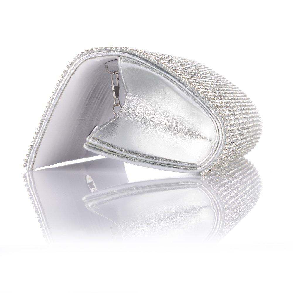 New Full Crystal Diamante Design Evening Clutch Wedding Purse Party Bag