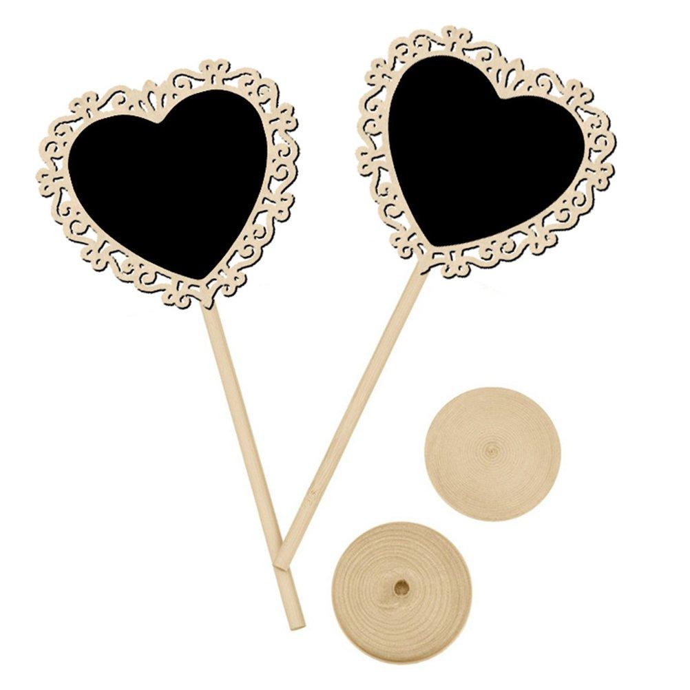 a forma di cuore ULTNICE 10pc lavagna in legno Mini lavagna segno accessori decorativi