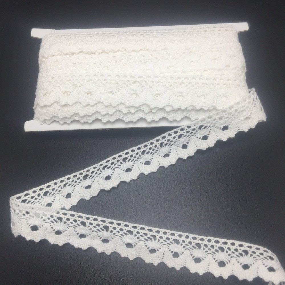 ELLAMAMA Cotton Lace Trim DIY Craft Delicate Ribbon Scallop Edge 3/4 Inch Wide 10yds For Gift Wrapping Ribbon Tape, Offwhite SUHAOLIN