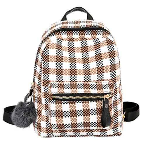 School Backpack Women Khaki Travel Bags Schoolbags Plaid Backpack qv7BwUO