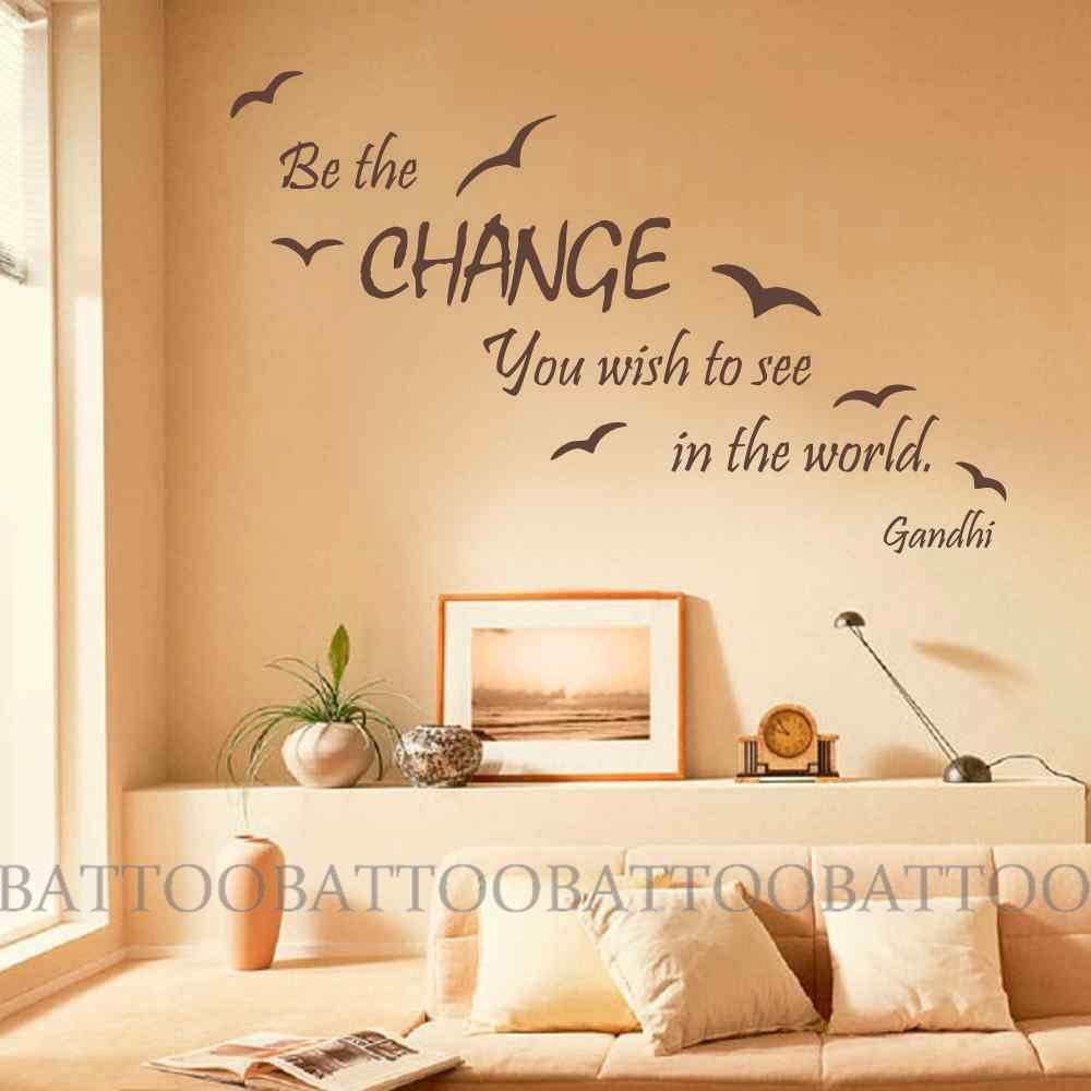 Amazon.com: BATTOO Wall Decal Quote Be The Change You Wish To See In ...
