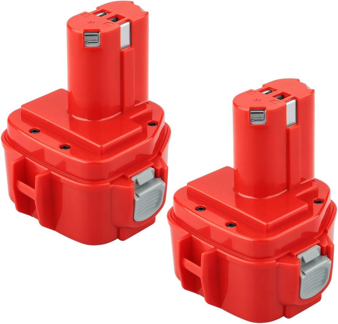 [2 piezas] POWER-XWT 12V 3,0Ah Ni-Mh Batería de herramientas para Makita 1220 1222 PA12 1233S Batería de Repuesto rojo