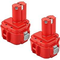 Power-XWT 12 1233S, 2 stuks, 12 V, 3,0 Ah, Ni-MH, gereedschapsaccu voor Makita 1220, 1222, PA12 1233S, rood, vervangende…