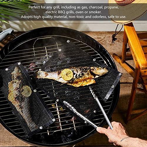 Aeloa 3Pcs Grill Mesh Mat - Réutilisable BBQ Mesh Mat Anti-Stick Barbecue Grill Sheet Liners(33 * 40cm)