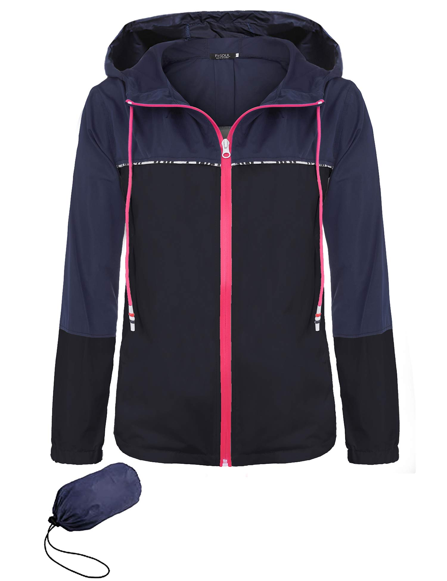 FISOUL Women's Waterproof Raincoat Active Outdoor Hooded Rain Jacket Lightweight Windbreaker S-XXL(Gray/Black,Large)