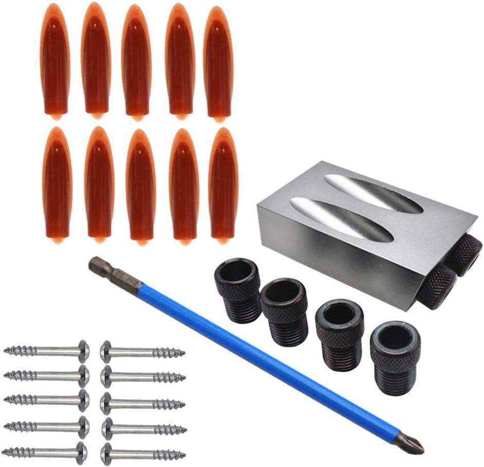 DOITOOL 28 piezas trabajo de mano o carpinter/ía liviano sistema de perforaci/ón de agujeros oblicuos para taladro /ángulo de 15 grados