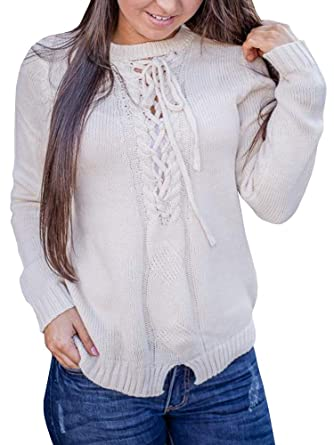 GAMISOTE Womens Lace Up Pullover Sweaters Long Sleeve Cable Knit V Neck  Fall Jumper Tops eed3cb104