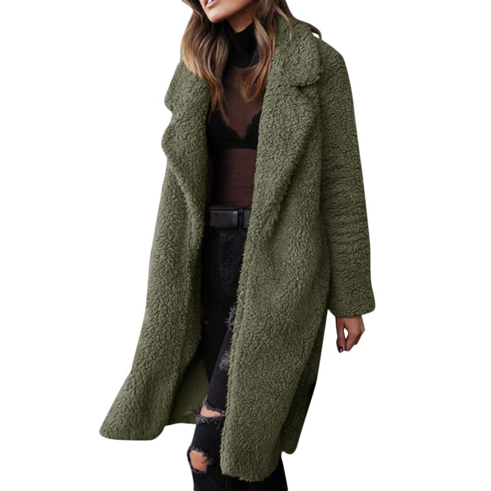 Funnygals - Womens Fluffy Tops Jacket Long Sleeve Open Front Cardigan Faux Fur Fleece Coat Outerwear for Winter Autumn Army Green by Funnygals - Clothing