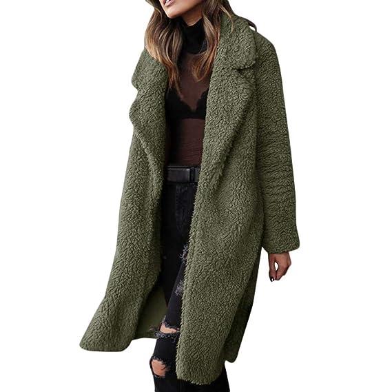 293244a948032a Plüschmantel Damen Lang Mantel Lose Sweatshirt mit Kapuze Langärmelige  Einfarbige Strickjacke Jacke mit Taschen Warmen Winter