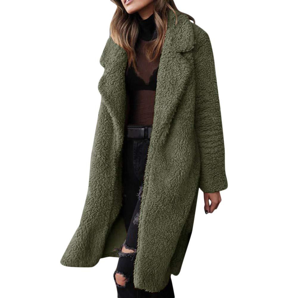 iDWZA Fashion Women Long Sleeve Pullover Blouse Open Jacket Coat Long Outerwear(Army Green,US XXS/CN S)