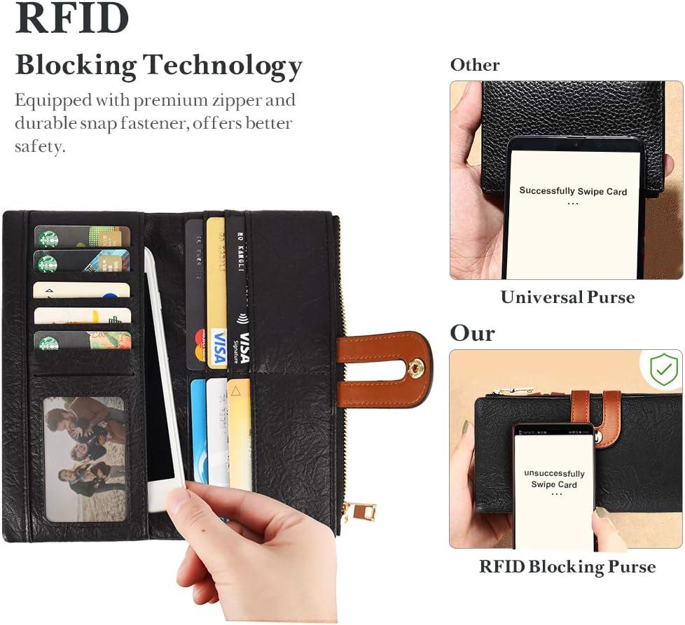 VBIGER Portefeuille Femme Porte Monnaie PU Cuir avec Poche Zipp/ée et Fonction de Blocage RFID