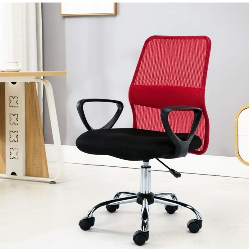 Xiuyun hemmakontor skrivbordsstol datorstol andningsbar nät justerbar höjd roterande datorbord och stol bärande vikt 150 kg (färg: svart) Röd