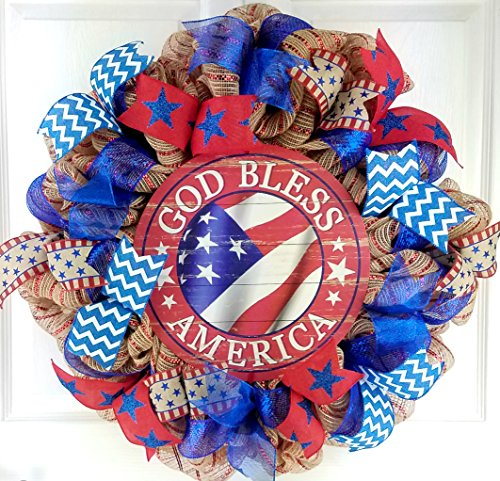 July 4th Wreaths (God Bless America Door Wreath | Fourth of July Wreath | Red White Blue)