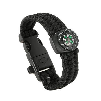 Lixada Extérieure de Survie Paracord Bracelet avec Boussole Allume-Feu et Sifflet d'urgence 2PCS 5-in-1