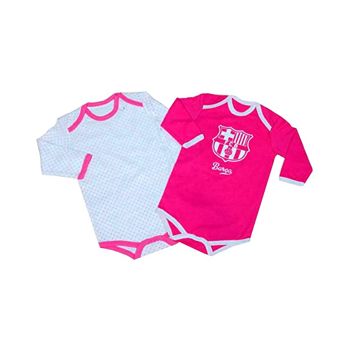 Pack 2 Body manga Larga F.C.Barcelona Rosa 1 Meses